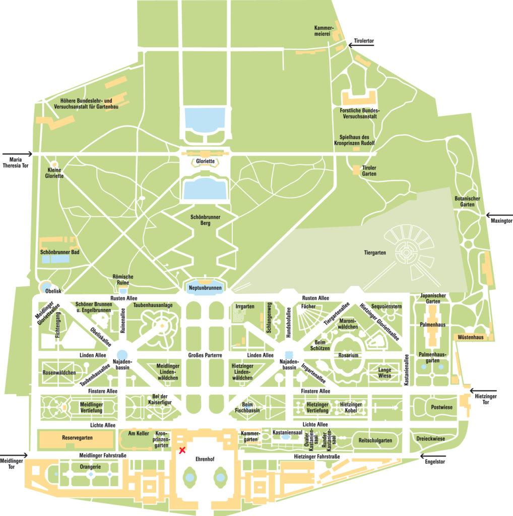 Mapa del palacio y jardines del Palacio Schönbrunn en Austria en 3 días