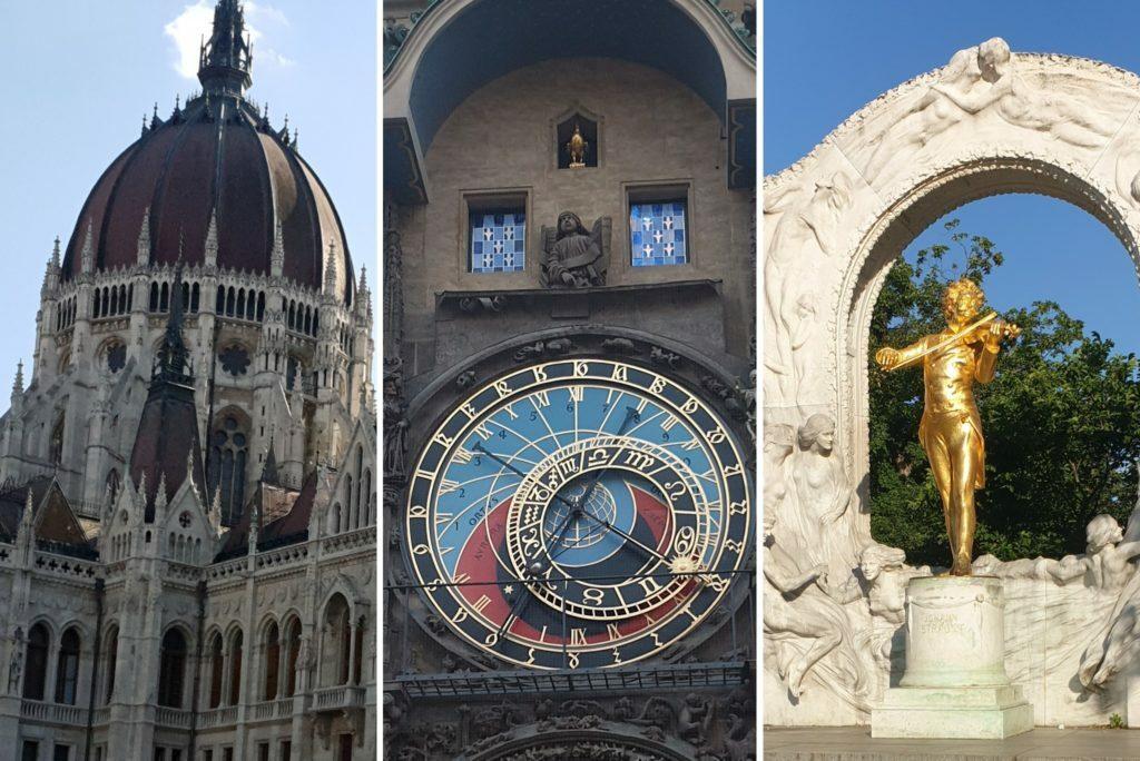 Los 3 monumentos mas importantes de Viena, Praga y Budapesta aparecen en esta imagen